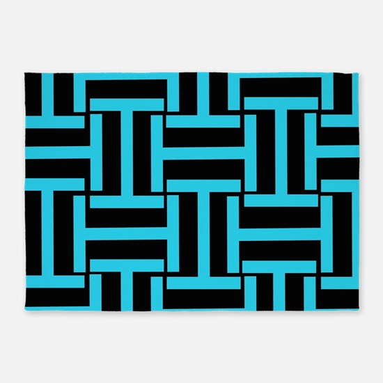 Electric Blue and Black T Weave 5'x7'Area Rug