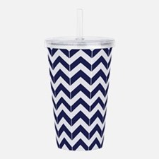 Navy Blue Herringbone Acrylic Double-wall Tumbler
