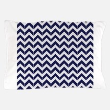 Navy Blue Herringbone Pattern Pillow Case