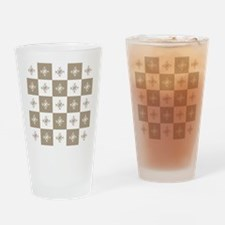 Rustic Christmas Beige Snowflakes P Drinking Glass