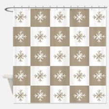 Rustic Christmas Beige Snowflakes P Shower Curtain