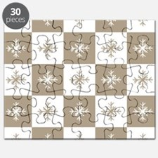 Rustic Christmas Beige Snowflakes Pattern Puzzle