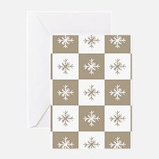 Rustic Christmas Beige Snowflakes Pa Greeting Card
