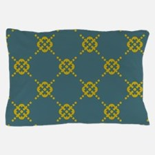 Teal and Mustard Pillow Case