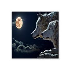 "Full Moon Wolves Square Sticker 3"" x 3"""