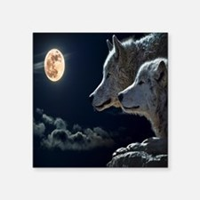 "Full Moon Wolves Square Sticker 3"" x 3"""