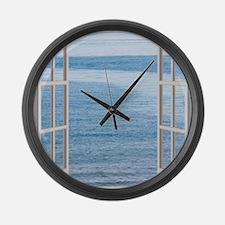 Ocean Scene Window Large Wall Clock