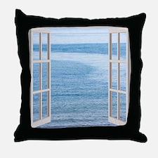 Ocean Scene Window Throw Pillow