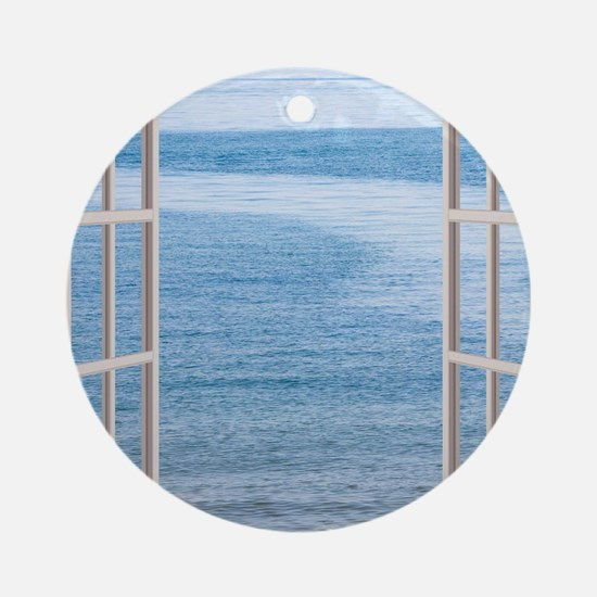 Ocean Scene Window Round Ornament