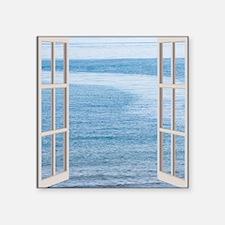 "Ocean Scene Window Square Sticker 3"" x 3"""