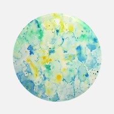 Abstract Watercolor Green and blue  Round Ornament