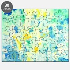 Abstract Watercolor Green and blue Pattern Puzzle