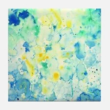 Abstract Watercolor Green and blue Pa Tile Coaster