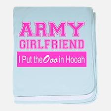 Army Girlfriend Ooo in Hooah_Pink baby blanket