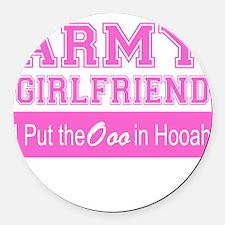 Army Girlfriend Ooo in Hooah_Pink Round Car Magnet