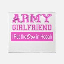 Army Girlfriend Ooo in Hooah_Pink Throw Blanket