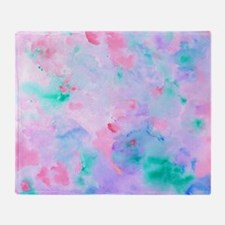 Watercolor Abstract pattern blue gre Throw Blanket