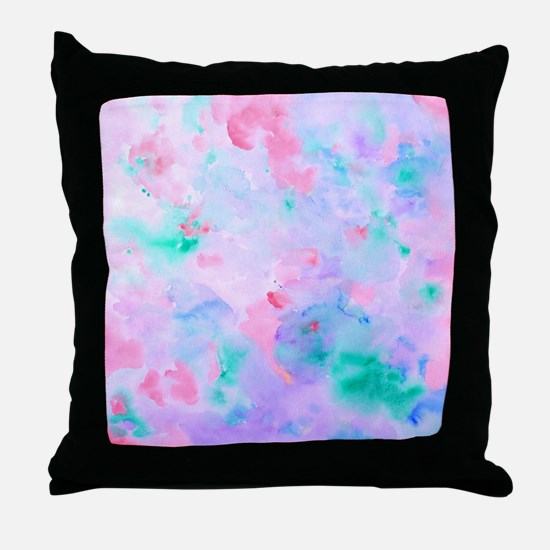 Watercolor Abstract pattern blue gree Throw Pillow