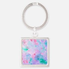 Watercolor Abstract pattern blue g Square Keychain