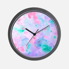 Watercolor Abstract pattern blue green  Wall Clock