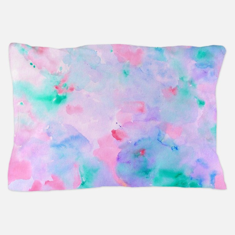 Watercolor Abstract pattern blue green Pillow Case