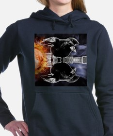 haunted flames gothic cr Women's Hooded Sweatshirt