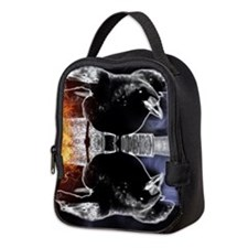 haunted flames gothic crow Neoprene Lunch Bag
