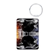 haunted flames gothic crow Keychains