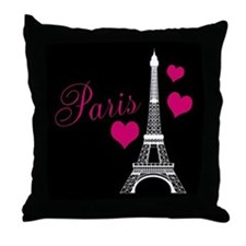 Paris Eiffel Tower in Black Throw Pillow
