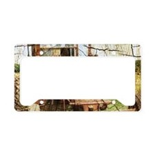 rustic farm old tractor License Plate Holder