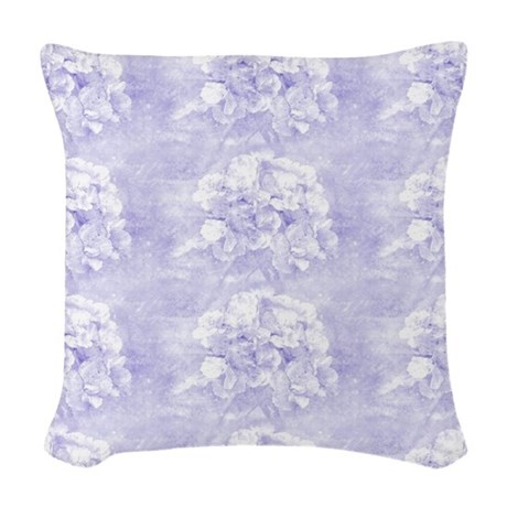 Dreamy Blue Floral Woven Throw Pillow