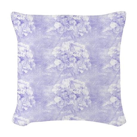 Dreamy Blue Floral Woven Throw Pillow