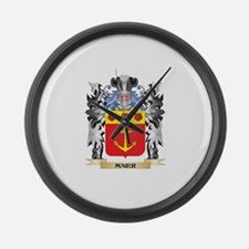 Maier Coat of Arms - Family Crest Large Wall Clock