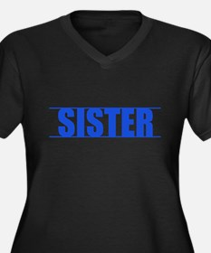 Blue Line Sister V-Neck Plus Size T-Shirt