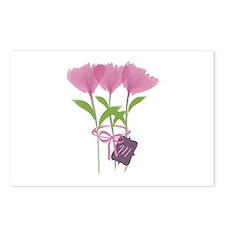 Custom Cute Pink Watercolor Peonies Postcards (Pac