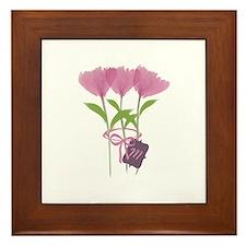 Custom Cute Pink Watercolor Peonies Framed Tile