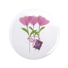 Custom Cute Pink Watercolor Peonies Button