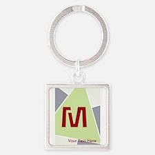Cool Bright Monogram Square Keychain