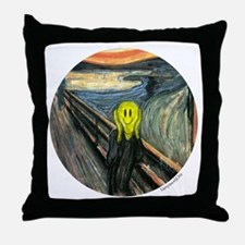 Smiley Scream Throw Pillow