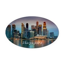 Singapore Oval Car Magnet