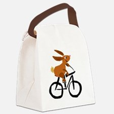 Funny Rabbit on Bicycle Canvas Lunch Bag