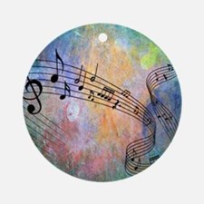 Abstract Music Round Ornament