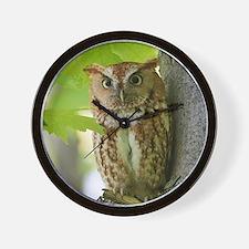 Red Sreech Owl Wall Clock