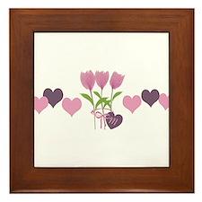 Custom Romantic Pink Tulips Season Framed Tile