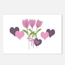 Pink Tulip Monogram Postcards (Package of 8)
