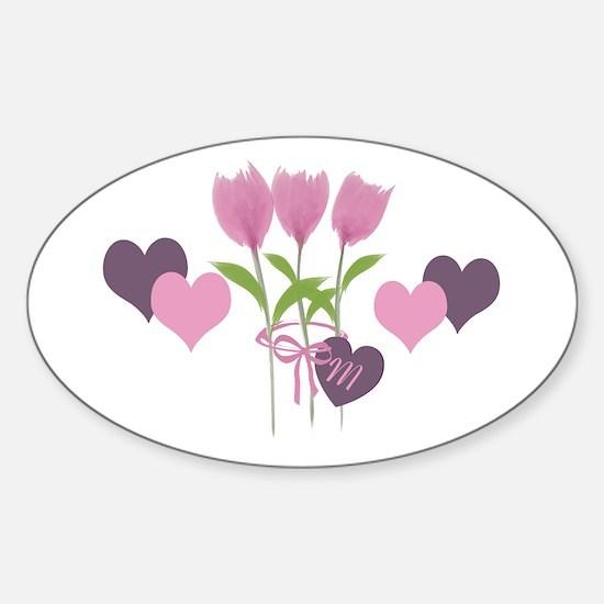 Pink Tulip Monogram Sticker (Oval)