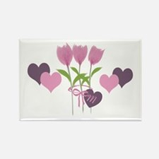 Pink Tulip Monogram Rectangle Magnet