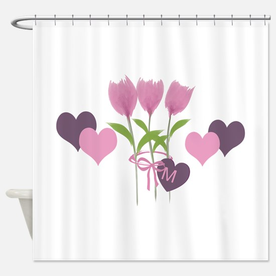 Pink Tulip Monogram Shower Curtain