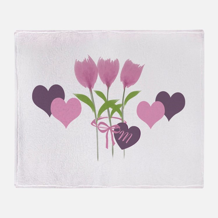 Pink Tulip Monogram Throw Blanket