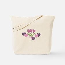Pink Tulip Monogram Tote Bag